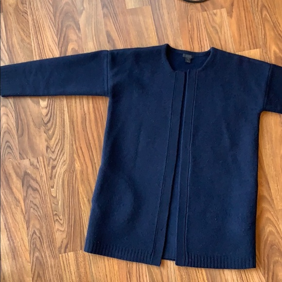 J. Crew Jackets & Blazers - J. Crew collection navy wool coat sweater XS